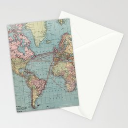 Vintage Map of The World (1912) Stationery Cards