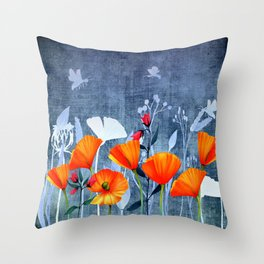 Summer night- Shadow of a Poppy meadow- Flowers Throw Pillow