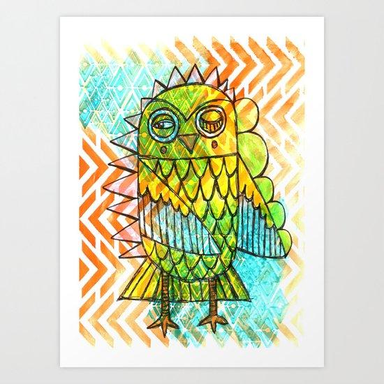 Oslauf the Owl - multicolored Art Print