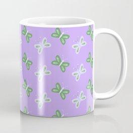 Modern artistic violet green butterfly illustration pattern Coffee Mug