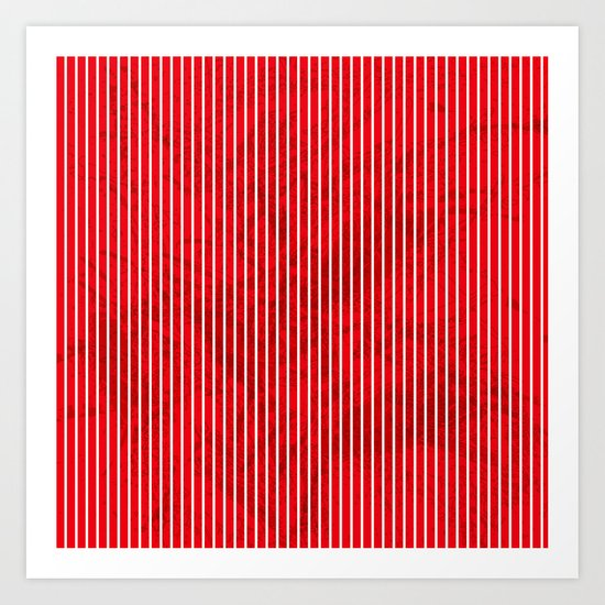 Red grunge stripes on white background Art Print