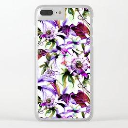 Violet botanical garden Clear iPhone Case