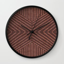 Terracotta clay line work on textured cloth - abstract geometric pattern Wall Clock