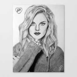 Perrie Edwards B&W Canvas Print