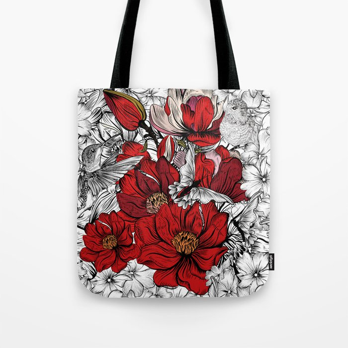 Boho Chic Red Poppy Flowers with Black and White Background Tote Bag ...