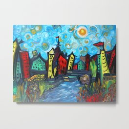Primary color Cityscape Metal Print