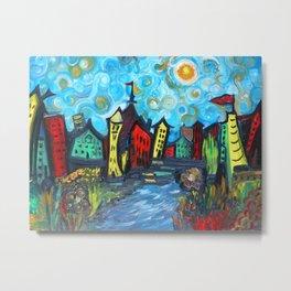 Primary color Cityscape Metal Print