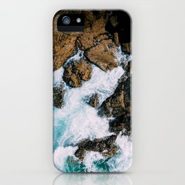 Ocean Waves Crushing On Rocky Landscape, Drone Photography, Aerial Landscape Photo, Ocean Wall Art iPhone Case
