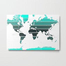 World Map - Colorful stripes - Greens Metal Print