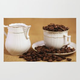 Creamer coffee cup coffee beans kitchen image Rug
