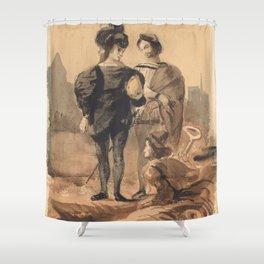 "Eugène Delacroix ""Hamlet and Horatio in the Graveyard"" Shower Curtain"