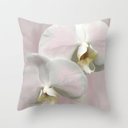 BLUSHING PINK ORCHIDS Throw Pillow
