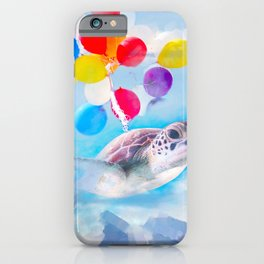 Cute Turtle Flying With Balloons iPhone Case