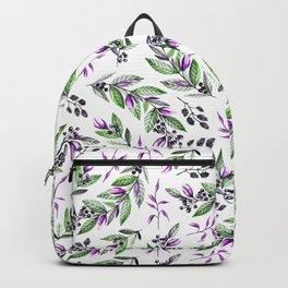 Modern  black lavender green watercolor berries floral pattern Backpack