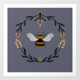 Ode to the Bumblebee (in lavender) Art Print