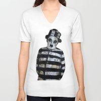 chaplin V-neck T-shirts featuring Charles Chaplin  by Krzyzanowski Art