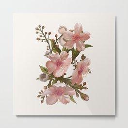 Blush Pink Watercolor Flowers Artwork Metal Print