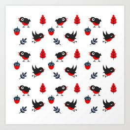 Bullfinch Pattern Art Print