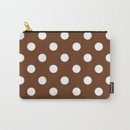 POLKA DOT DESIGN (WHITE-BROWN) Carry-All Pouch