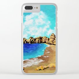 Beach In Albufeira, Portugal by Mike Kraus - seascape beach europe swimming cliffs sky clouds teal Clear iPhone Case