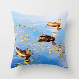 Ducks on a Pond Throw Pillow