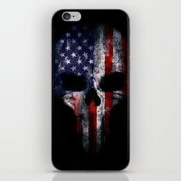 American Flag Punisher Skull Grunge Distress USA iPhone Skin