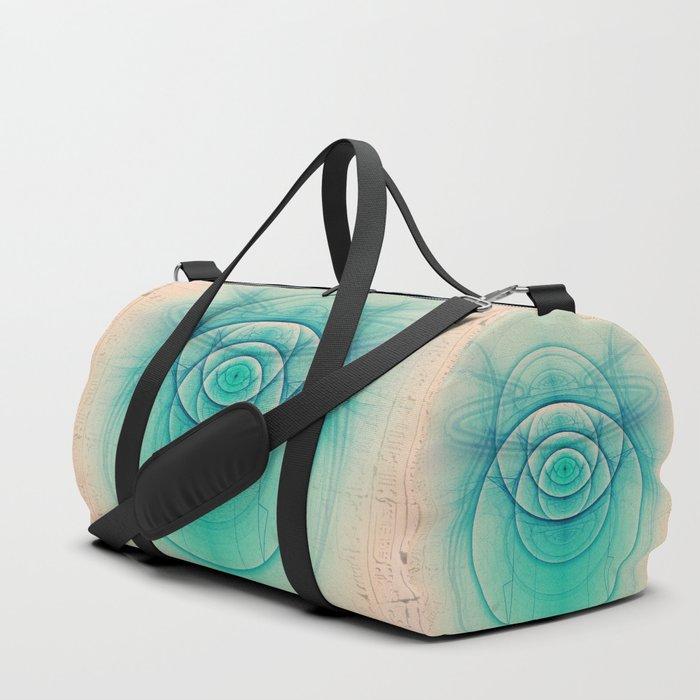 Egyptian Turquoise Scarab on Beige Sandstone Glyphs Duffle Bag