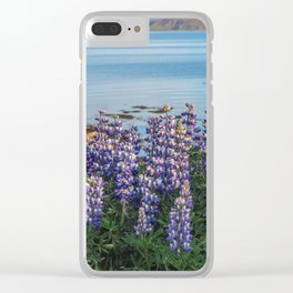 Lupins by the Fjord 2 Clear iPhone Case