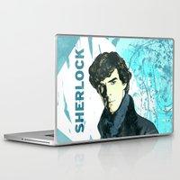 sherlock holmes Laptop & iPad Skins featuring Sherlock Holmes by illustratemyphoto