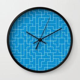 White Tetris Pattern on Blue Wall Clock