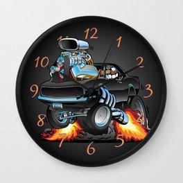 Classic Sixties American Muscle Car Popping a Wheelie Cartoon Illustration Wall Clock