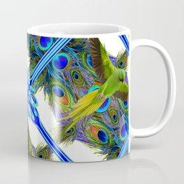 ART NOUVEAU FLYING GREEN PARROT  PEACOCK FEATHER WHITE ART Coffee Mug