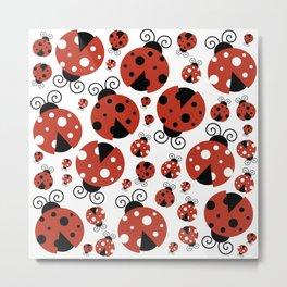Ladybugs (Ladybirds, Lady Beetles) - Red Black Metal Print