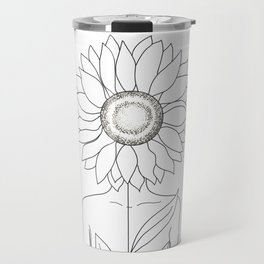 Minimalistic Line Art of Woman with Sunflower Travel Mug