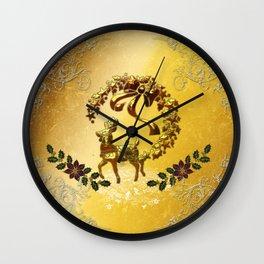 Christmas, reindeer Wall Clock