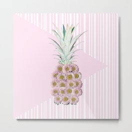 Floral Pineapple Stripes Pink Metal Print