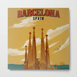 Vintage Barcelona, Spain Travel Lithographic Poster Advertisement Metal Print