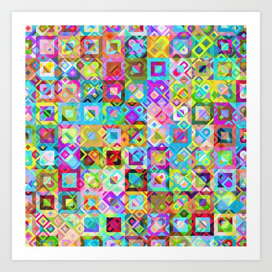 Multicolor Geometric Pattern Art Print