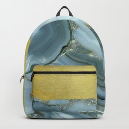 Marble Agate Slices Crystal Geode Abstract Boho Gold and Grey Backpack