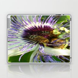 Close Up Of Passion Flower with Honey Bee  Laptop & iPad Skin
