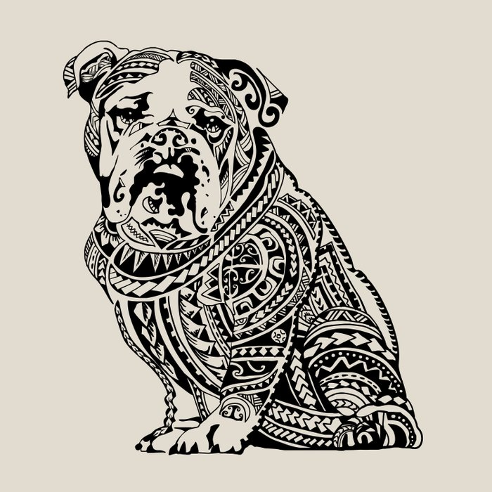 Polynesian English Bulldog Duvet Cover