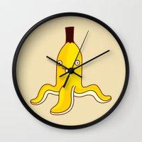 banana Wall Clocks featuring Banana    by simon oxley idokungfoo.com
