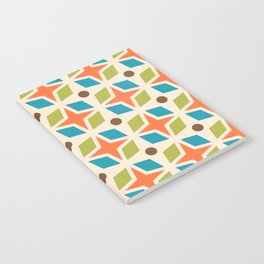 Mid Century Modern Abstract Star Dot Pattern 441 Orange Brown Turquoise Chartreuse Notebook