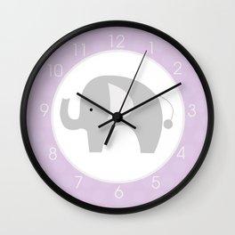 Mod Elephant Gray and Lavender Wall Clock