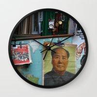 hong kong Wall Clocks featuring hong kong by Teresa Gabry
