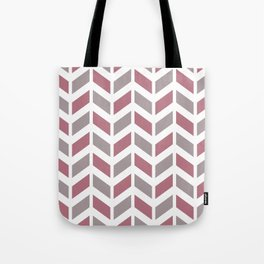 Dusty pink, gray and white chevron pattern Tote Bag