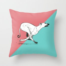 Run Greyhound! Throw Pillow