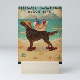 Beach Life Sandy Toes Irish Setter dog gift Mini Art Print