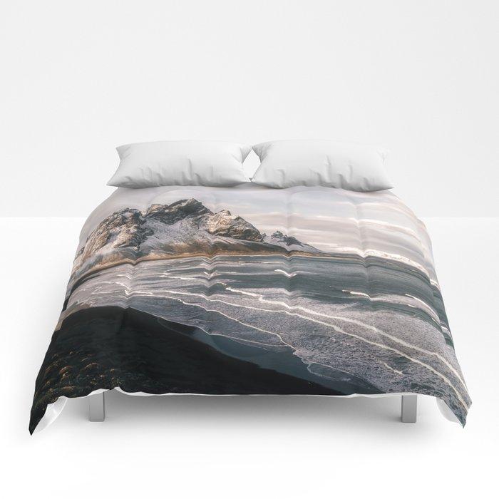 Stokksnes Icelandic Mountain Beach Sunset - Landscape Photography Comforters