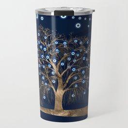 Nazar Charm Tree - Gold on Dark Blue Travel Mug